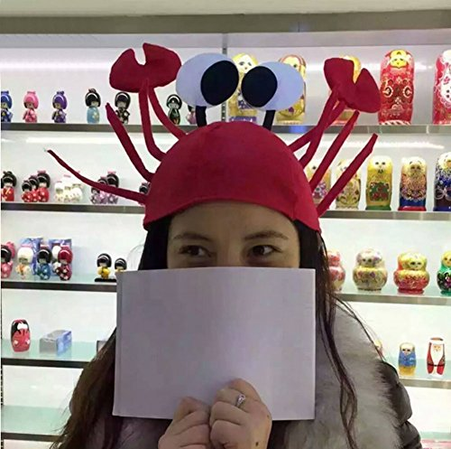 Seaskyer 1 Pc Red Felt Crab Hat, Halloween Christmas Cute Red Lobster Crab Hat Adjustable Adult Fancy Party Costume Cap Gift 18cm/7.09'' -