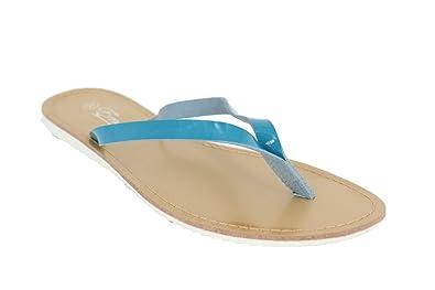 Buyazzo Damen Sommer Sandalen Sandaletten Zehentrenner Strandschuhe Slipper BAEM112 (40, Schwarz)
