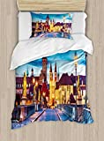 Ambesonne Urban Duvet Cover Set Twin Size, Colorful Sunset Evening View of Old Main Bridge in Historical Land Bavaria Germany, Decorative 2 Piece Bedding Set with 1 Pillow Sham, Multicolor