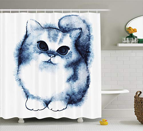 Ambesonne Navy Blue Shower Curtain, Kitty Paint with Distressed Color Features Fluffy Cat Best Companion Ever, Cloth Fabric Bathroom Decor Set with Hooks, 70
