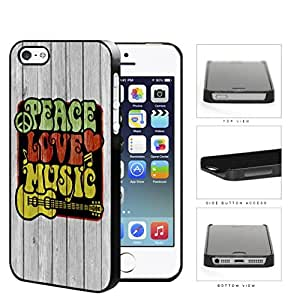 Peace Love Music Symbols In Rastafarian Colors Hard Plastic Snap On Cell Phone Case Apple iPhone 5 5s