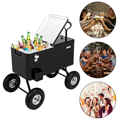 "VINGLI 80 Quart Wagon Rolling Cooler Ice Chest, w/Long Handle and 10"" Wheels, Portable Beach Patio Party Bar Cold Drink Beverage, Outdoor Park Cart on Wheels (Black-Wagon)"