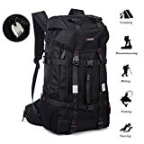KAKA Hiking Backpack 55L,Travel Daypack Sports Weekend Gym Bag Outdoors Camp Mountain Waterproof for Women Mens,Anti-Theft Rucksack Fits 17 inch Laptop(Black)