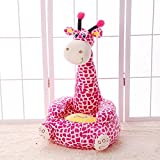 WAYERTY Children Sofa, Kid Sofa Cartoon Animal Lazy Couch Plush Toy Upholstered Baby Stool Birthday Gift Kid Chair-Rose Red 50x45x85cm(20x18x33inch)