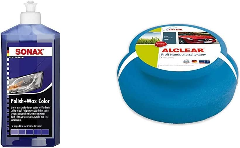 Sonax Polish Wax Color Nanopro Blau 500 Ml Politur Mit Farbpigmenten Und Wachsanteilen Auf Nanotechnologie Basis Art Nr 02962000 Alclear 5713050m Auto Profi Handpolierschwamm 130 X 50 Mm Auto