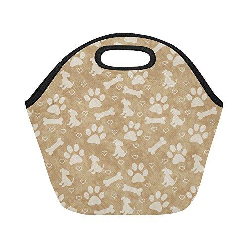 Box Lunch Bone (InterestPrint Light Brown Puppy Dog Reusable Insulated Neoprene Lunch Tote Bag Cooler, Paw Print Bone Portable Lunchbox Handbag for Men Women Adult Kids)