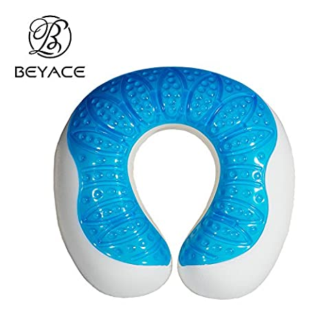 BEYACE Memory Foam Neck Travel Pillow with Cooling Gel, Provide Best Neck and Head Support in Travel & Office
