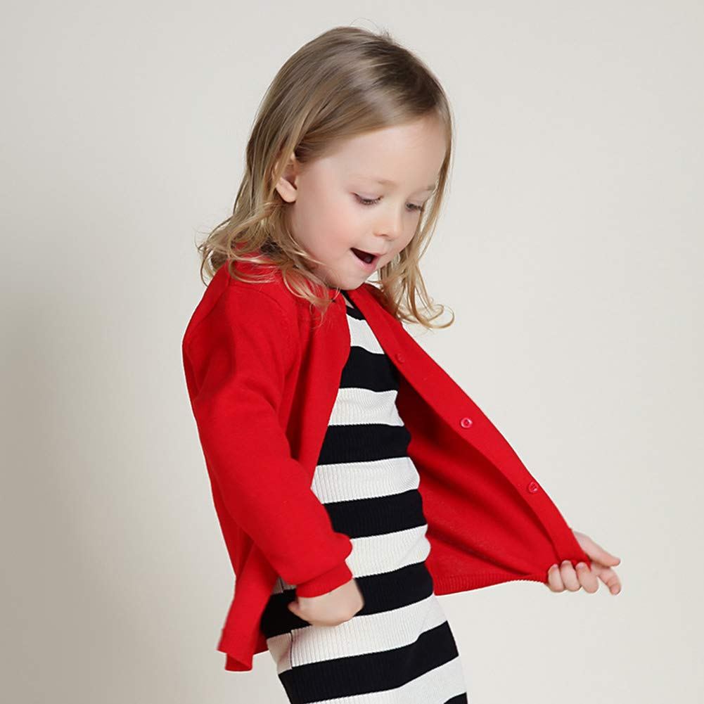Leoie Spring Autumn Solid Color Long-Sleeved Sweater Cardigan for Childrens Boys and Girls