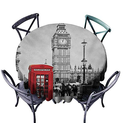 VIVIDX Spillproof Tablecloth,London,Famous Telephone Booth and The Big Ben in England Street View Symbols of Town Retro,for Events Party Restaurant Dining Table Cover,60 INCH,Red Grey ()