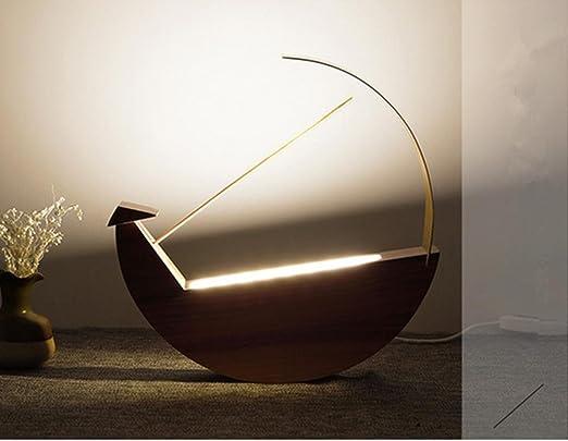 Lámpara de Mesa Lámpara de Escritorio Madera llevó la lámpara Luna ...