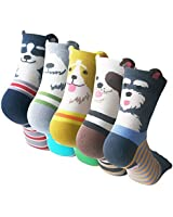 Pack of 5 Sweet Animal Design Women's Casual Comfortable Cotton Crew Socks, Style 1, One Size (5-8.5)