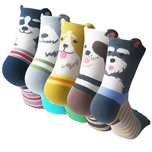 Pack of 5 Sweet Animal Design Women's Casual Comfortable Cotton Crew Socks,  Style 1, One Size (5-8.5) from YSense