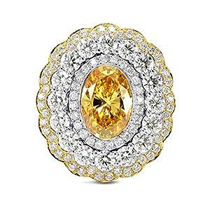 3.31Cts Orange Diamond Engagement Halo Ring Set in 18K White Yellow Gold GIA Size 6