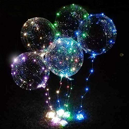 DANIDEER Led BoBo Balloons white/pink/blue, 18 Inch 5 PCS Transparent Helium Balloons with string lights, LED light up balloons for Christmas, indoor or outdoor event, Wedding and party (Blue) -