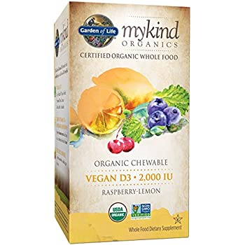 Garden of Life Vitamin D3 - mykind Vegan Organic D Vitamin Whole Food Supplement for Immune and Bone Health, 2000 IU, Raspberry Lemon, 30 Chewable Tablets