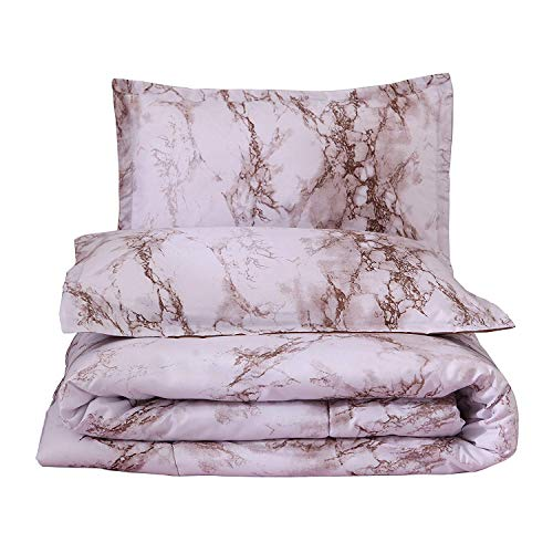 A Nice Night Closure-Printed Marble Ultra Soft Comforter Set Bed-in-a-Bag,Queen (Coffee-Marble)