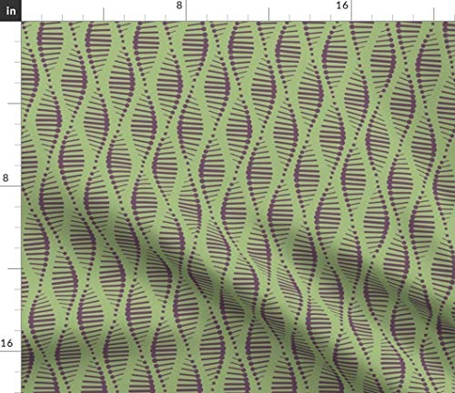 Spoonflower Shapes Fabric - Geometric Palette Contest DNA Genes Wavy Stripe Print on Fabric by The Yard - Minky for Sewing Baby Blankets Quilt Backing Plush Toys ()
