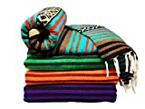 Spirit Quest Supplies Bodhi Blanket Mexican Style Throw Blanket - Falsa Blanket for Yoga, Picnics, Beach, Tapestry, Camping, More (Dancing Bear: Teal, Brown, Red, Black, Tan)