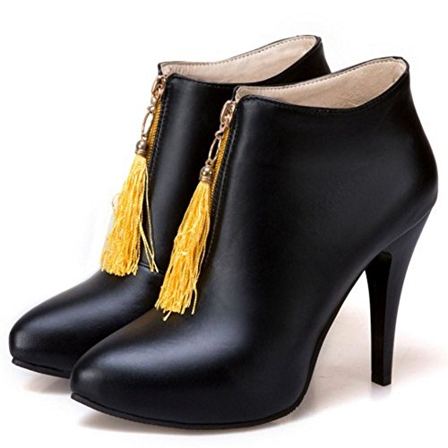 COOLCEPT Women Spike Heel Dress Boots Ankle High Zipper Black peVnRz