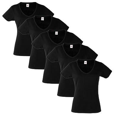 Pack 5 Camisetas Negras Algodón Talla XL Mujer Cuello de Pico Fruit of the Loom: Amazon.es: Ropa y accesorios