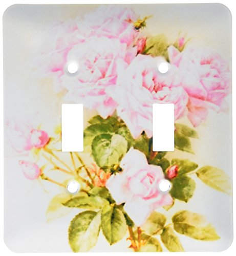 3dRose lsp_151447_2 Paul De Longpre Shabby Chic Vintage Pink Roses Sun-Faded Antique Flowers Fine Art Girly Floral Double Toggle Switch