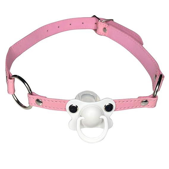 DDLG/ABDL - Chupete con collar de gargantilla, color rosa ...