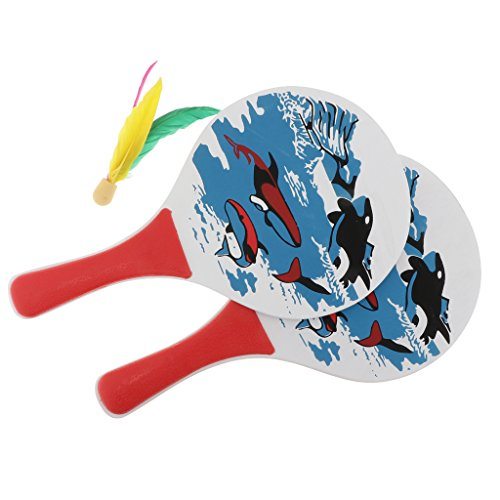 MonkeyJack Classic Beach Tennis Wooden Paddle Game Set (2 Paddles, 2 Balls, 1 Birdies)