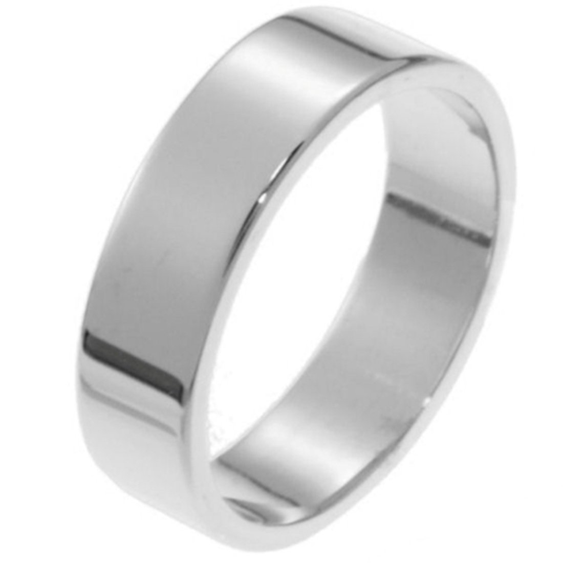 Womens Sterling Silver 6mm Flat Style Comfort Fit Wedding Band Ring