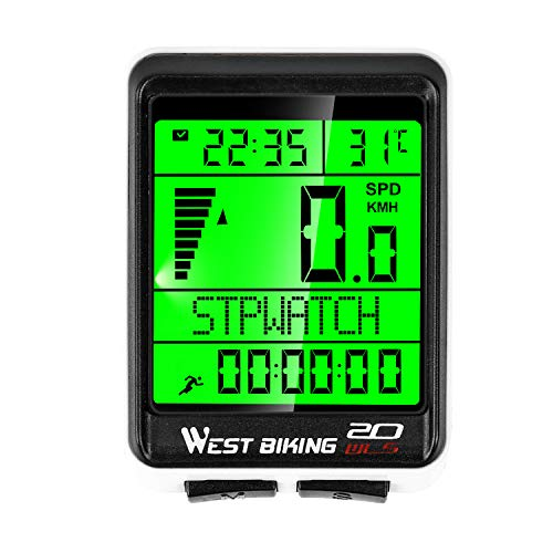 Bicycle Wireless Computer Speedometer Odometer – 5 Language Displays Weekly Updated Memory & Automatic Wake-up Bicycle Waterproof Stopwatch Speed Tracker with LCD Backlight Cycling Accessories