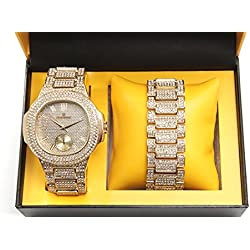 Bling-ed Out Oblong Case Metal Mens Watch w/ Matching Bling-ed Out Bracelet Gift Set - 8475B - Gold/Gold