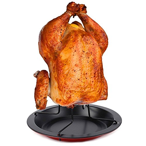 IUME Chicken Roaster Rack Nonstick Vertical Poultry Roaster Carbon Steel Holder