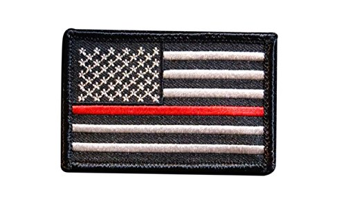 - new brand Firefighter Thin Red Line United States Flag Patch Fire & Rescue EMT EMS Morale Patch Hook Backing