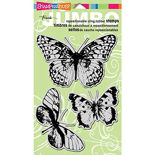 STAMPENDOUS CRS5044 Jumbo Cling Rubber Stamp Sets, Butterfly Trio Images