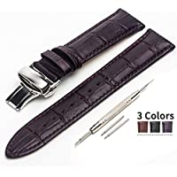 18mm, 20mm, 22mm Leather Watch Strap with Butterfly Closure Clasp for Traditional or Smart Watch Band Replacement - Black Brown Coffee