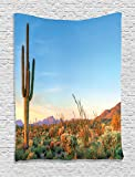 Saguaro Cactus Decor Tapestry By Ambesonne, Sun Goes Down in Desert Prickly-Pear Cactus Southwest Texas National Park, Bedroom Living Room Dorm Decor, 40 W x 60 L Inches, Orange Blue Green