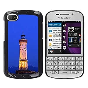 LASTONE PHONE CASE / Slim Protector Hard Shell Cover Case for BlackBerry Q10 / Architecture Retro Ligthouse Sea