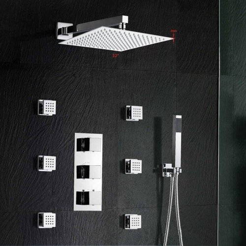 Wall Mount Thermostatic Shower Faucet Sets Complete Six Jets Spa Body Massage with 12