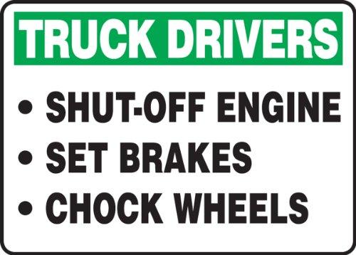 Accuform mtkc909X T dura-plastic Sign, Legend'conductores de camiones motor de apagado juego frenos Calzo ruedas', 14' de...