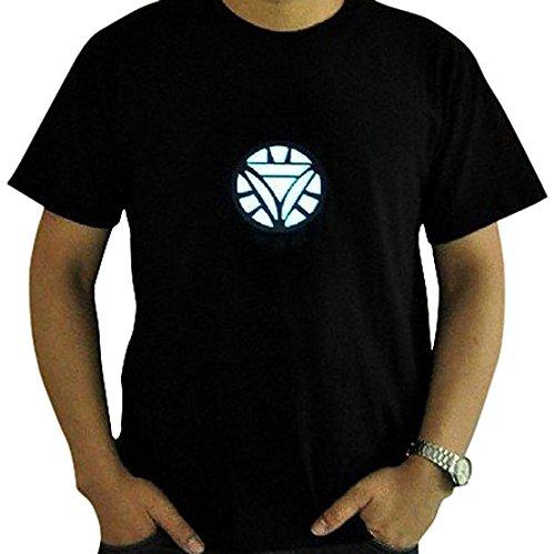 Tony Stark Light-Up Arc Reactor LED Iron Man 2 Black T Shirt---Size XL (Iron Man Glow Arc Reactor)