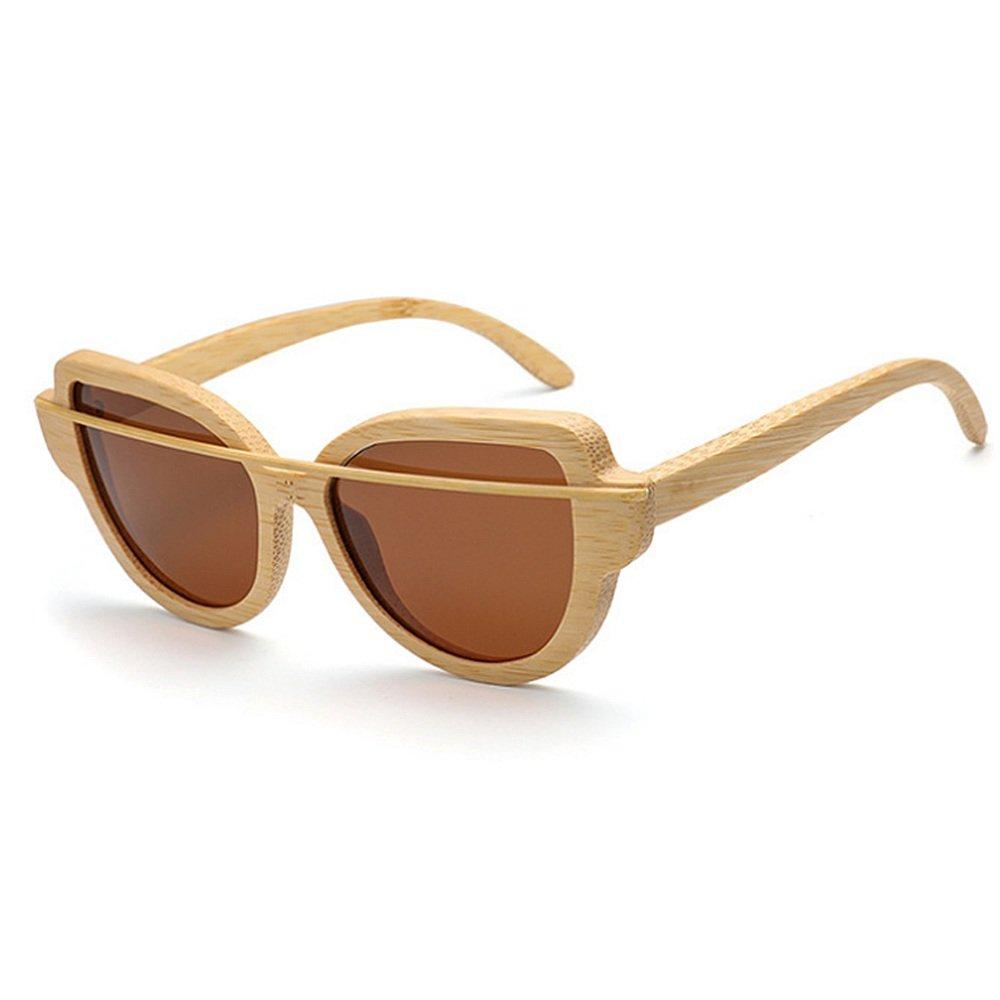 Tea STEVAP Simple Wooden Bamboo Frame Polarized Sunglasses for Women Men Unisex Cat Eyes Sunglasses colorful Lens UV Predection Sunglasses Driving Sunglasses Beach Sunglasses