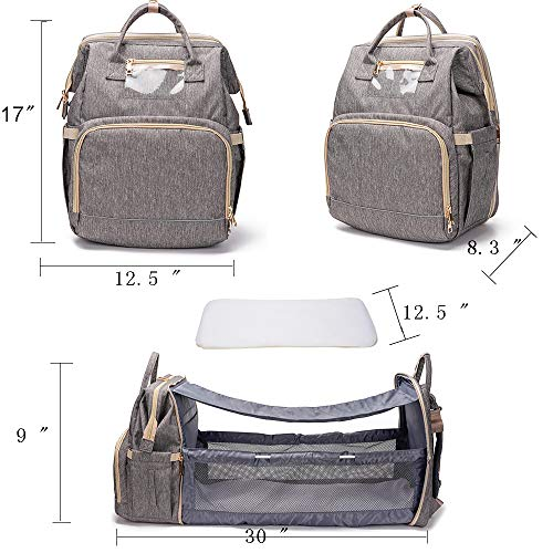 3 in 1 Travel Foldable Bed Diaper Bag Bed Portable Diaper Changing Station with Sunshade and USB Port
