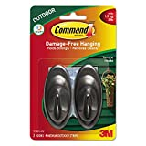 3M Command Outdoor Hooks, 3 lb Capacity, 2 Hooks & 4 Strips/Pack MMM17086SAW