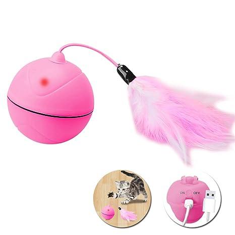 Wanfei Juguetes para Gatos interactivos,Carga USB automática Bola Juguetes para Gatos con LED giratoria