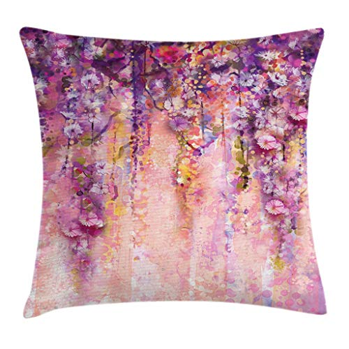 Ambesonne Flower Throw Pillow Cushion Cover, Watercolor Painting Effect Wisteria Tree Blossoms Soft Scenic Spring Display, Decorative Square Accent Pillow Case, 26 X 26 Inches, Pink Violet Purple