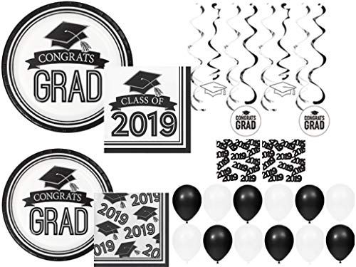 (Class of 2019 Graduation School Spirit White & Black Party Tableware & Decorations for 36 Guests)