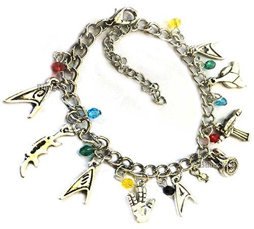 Silver Tone Star Trek Charm Bracelet For Girls (Silver)