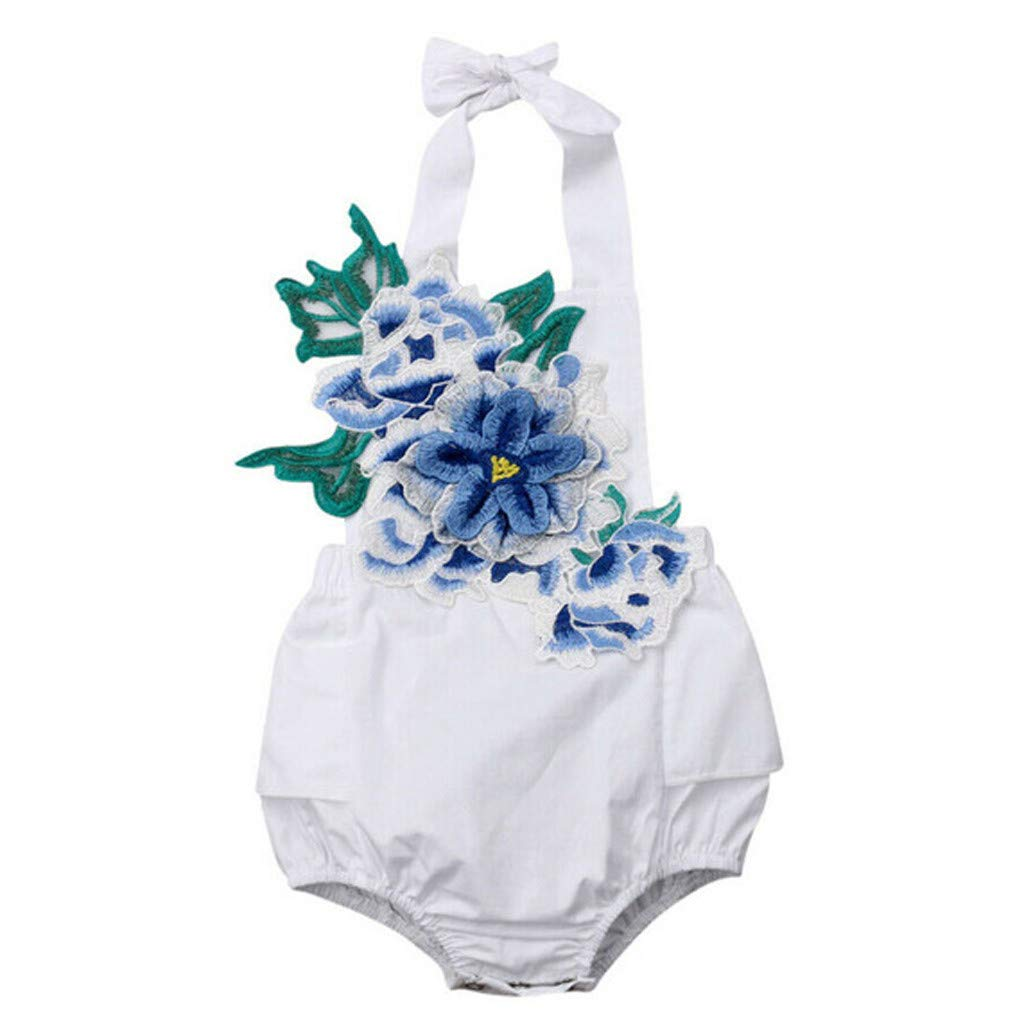 Lucoo Newborn Baby Clothes Fathers Day Gift for New Dad Floral Embroidery Romper Bodysuit Outfits 70, Blue