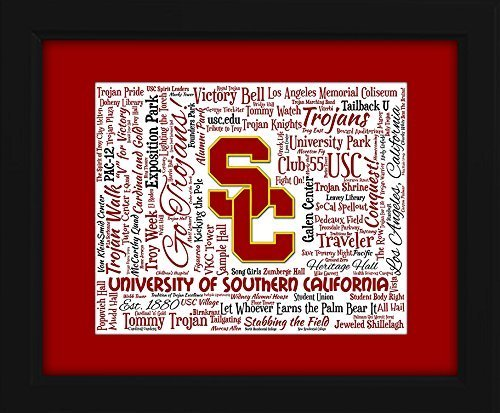 Trojans Art Glass - University of Southern California (USC) 16x20 Art Piece - Beautifully matted and framed behind glass