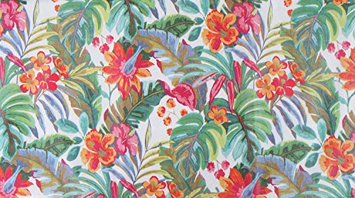 Summer Fun by Elrene Tropical Rainforest Expressions Vinyl Flannel Back Tablecloth with Zipper Umbrella Hole (70