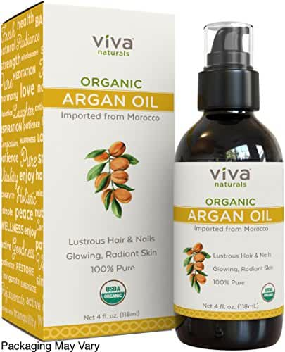 Viva Naturals Organic Moroccan Argan Oil, 4 oz - 100% Pure and USDA Certified for Face, Hair, Skin and Nails